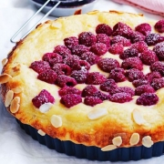 Raspberry custard brioche tart